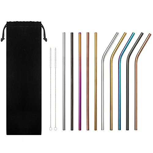 8pcs 304 Stainless Steel Eco Friendly Reusable Straw Metal Smoothies Drinking Straws Set With Brush & Bag Fine Craftsmanship Festive & Party Supplies Event & Party