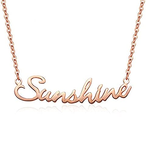 Name necklace Personalized Women Pendant Rose Gold Plated 925 Sterling Silver Custom Made with Any Name (rose gold plated (Gold Plate Chain Necklace)
