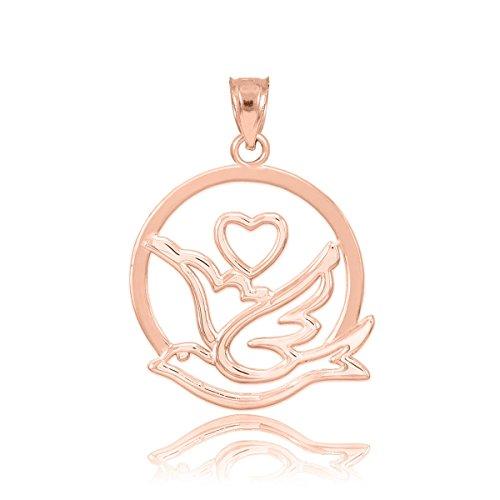 massif 10K Or rose Amour Colombe avec pendentif charm en forme de cœur