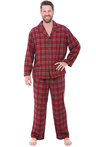 Cotton Cashmere Flannel - Alexander Del Rossa Men's Lightweight Flannel Pajamas, Long Cotton Pj Set, Small Traditional Scottish Tartan Red Plaid (A0544P72SM)