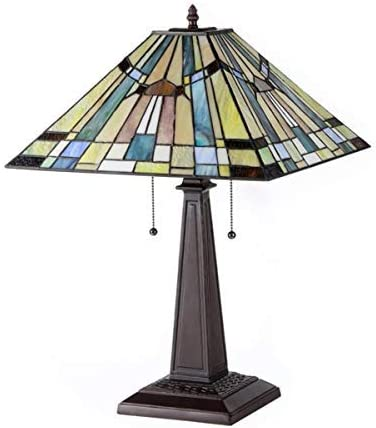Chloe Lighting CH33293MS16-TL2 KINSEY Tiffany-Style Mission 2 Light Table Lamp 16-Inch Shade