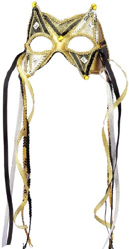 Deluxe Black And Gold Mask (Deluxe Gold and Black Sequin Mask - Adult Std.)