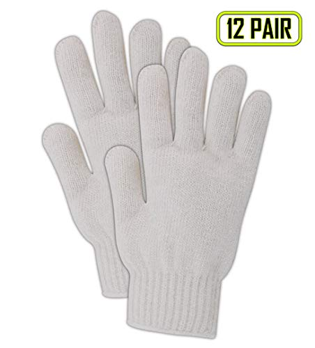 Magid Glove & Safety T93C-AMZN KnitMaster T93 Heavyweight 7 Gauge Knit Gloves, Cotton Poly Blend, Ladies (Fits Medium), White (Pack of 12)