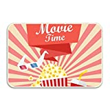 FnLiu Movie Time Poster Rubber Backed Mat Non-Slip Rug Kitchen Dining Living Hallway Bathroom Pet Entry Rugs