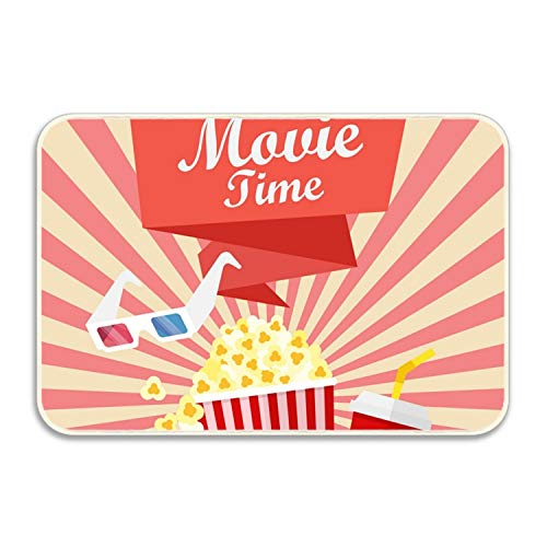 FnLiu Movie Time Poster Rubber Backed Mat Non-Slip Rug Kitchen Dining Living Hallway Bathroom Pet Entry Rugs by FnLiu