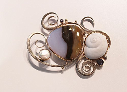 Barbara Umbel Sterling Silver, Snail shell,Chalcedony, Iolite, Freshwater Pearls,Blue Lace Agate, Citrine,Aquamarine and Heratite necklace/pin.