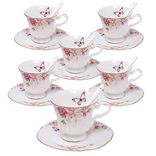 ufengke 4oz Flora Coffee Cup Set,Small Capacity Porcelain Coffee Tea Sets,Set of 6 Ceramic Tea Cup and Saucer-Magnolia Pattern