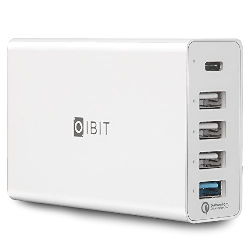 USB Quick Charger 60W 5 Ports IBIT Smart Fast Wall Charger 3.0 with Multi-USB Ports for iPhone 6s/7/8/X iPad Air/Pro Galaxy S6/S7/S8/S9 and More(White)