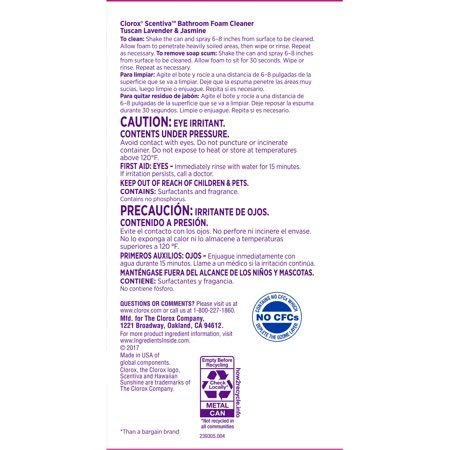 Clorox Scentiva Bathroom Foam Cleaner - Foaming Aerosol Multi-Surface Cleaner - Tuscan Lavender Jasmine - 20 oz- Pack of 3