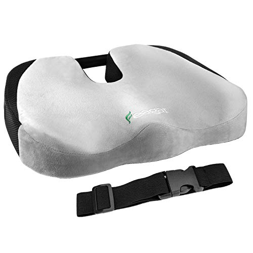 Feagar Seat Cushion, Memory Foam Car Chair Pad |Orthopedic Coccyx Pillow for Office, Gaming and Wheelchair|Sciatica, Tailbone and Back Pain Relief, (Grey Seat Cushion)