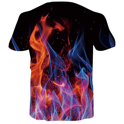 RAISEVERN 3D T-Shirt pour Hommes Femmes D\'été Casual Tees À Manches Courtes avec Drôle Psychologie Vague Ligne Imprimé,Smog (Multicolor),L