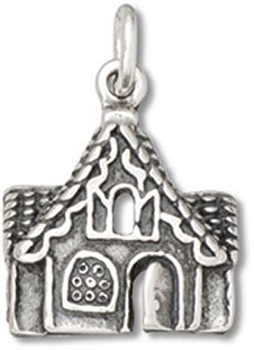 Gingerbread House Charm (Sterling Silver 3D Cute Gingerbread House Cottage Charm)