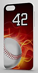 Flaming Baseball Sports Fan Player Number 42 White Rubber Decorative iphone 4s Case