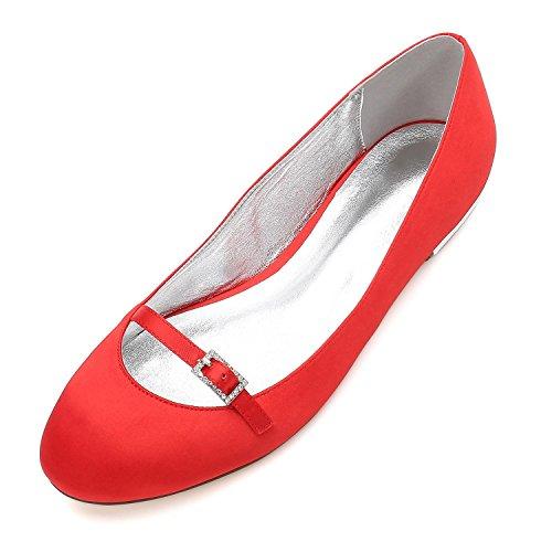 L@YC Para Mujer 5049-21 Sandalias nupciales de La Boda del Baile de Fin de Curso Zapatos del Partido del Talón de Las Señoras del Satén Red