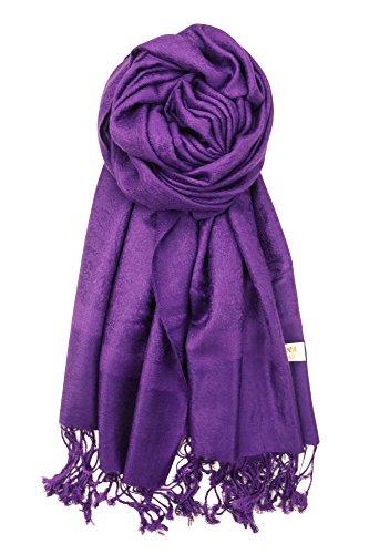 Achillea Two Tone Vintage Jacquard Paisley Pashmina Shawl Wrap Scarf (Deep Purple) (Wrap Purple Sweater)