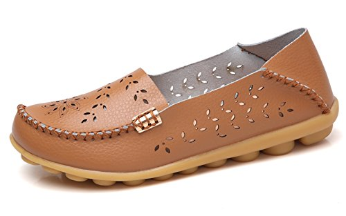 VenusCelia Women's Breathable Natural Walking Flat Loafer(10 M US,tan)