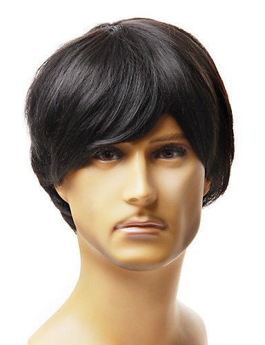 Capless Mode para hombres, corta Negra recto pelo artificial peluca
