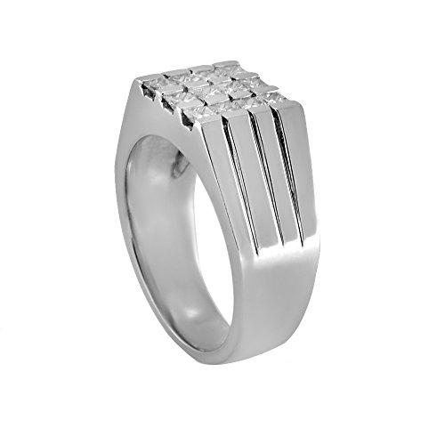Mens Diamond Ring, 18Kt White Gold Mens Diamond Ring, 1.05 Ct -