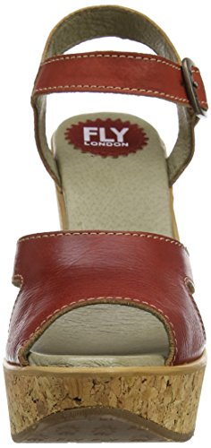 Fly London P143978003, Sandali con Zeppa Donna Rosso (Red 002)