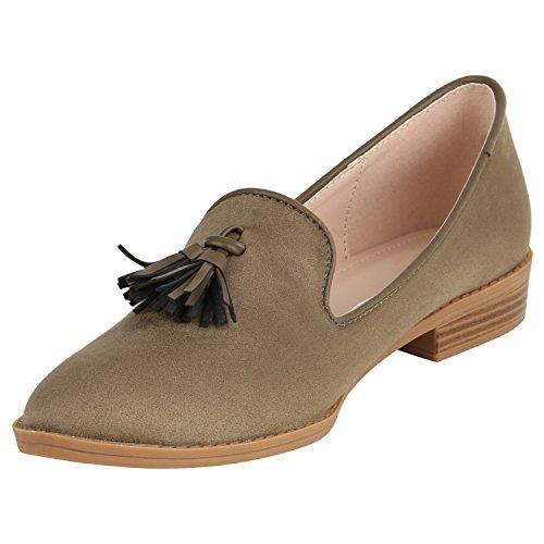 Stiefelparadies Damen Schuhe Slippers Tassel Loafers Quasten Elegante Slip Ons Flandell Grün Quasten