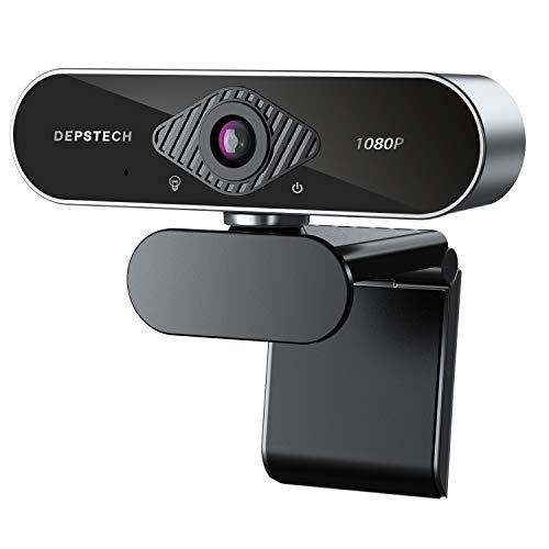 Webcam with Microphone, DEPSTECH 1080P HD Webcam with Auto Light Correction for Desktop/Laptop, Streaming Computer USB…