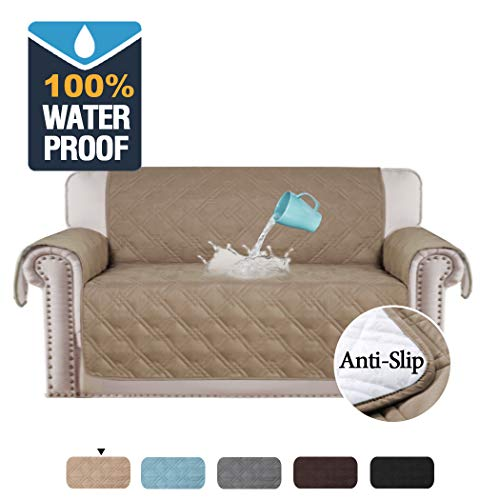 100% Waterproof Furniture Covers for Sofa and Loveseat Slip Resistant Loveseat Slipcover Protector Non-slip Furniture Protector Water-Repellent Soft Protector/Slipcovers (Love Seat: Taupe) (Sofa Covers Leather Seat)