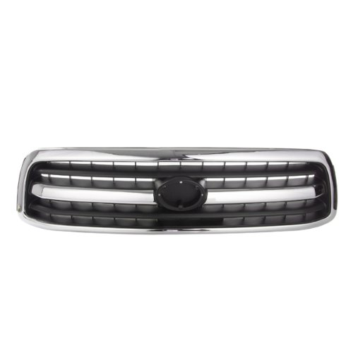 CarPartsDepot, Front Grille Grill New Replacement Chrome Body Black Grid Screen, 400-441535 TO1200223 531000C020