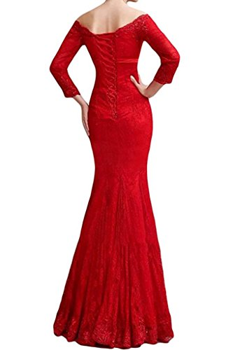 Abendkleider Promkleider Abschlussballkleider Langes Spitze Damen Marie Braut La Rot Meerjungfrau gT4qvXw