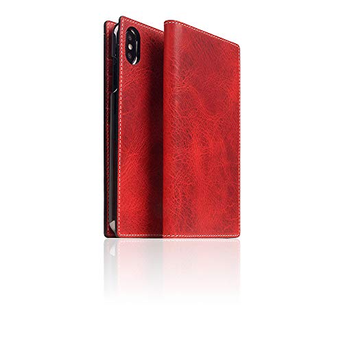 SLG Design] D7 Italian Wax Leather case for iPhone Xs Max I Italian Premium Leather Flip Folio Book Case Wallet Cover with Feature Card Slots Compatible with iPhone Xs Max (Red)
