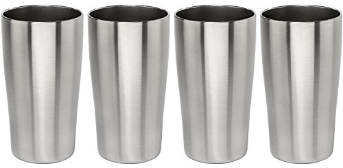 Stainless Vacuum Insulated Beer Tumbler - 16oz Pub Pint Glass by Lancaster Steel, set of 4 ()