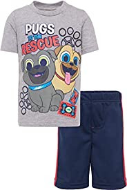 Disney Boys T-Shirt & Mesh Shorts Set: Puppy Dog Pals, Toy Story, Cars & L