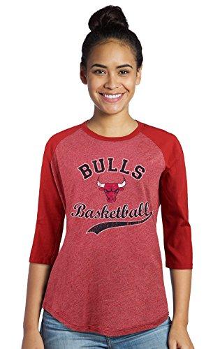(Majestic Athletic NBA Chicago Bulls Women's Premium Triblend 3/4 Sleeve Raglan, Red, Medium)