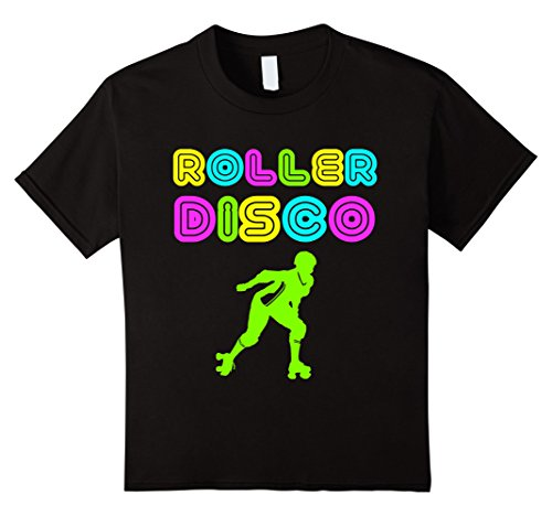 Roller Disco Girl Costume (Kids Roller Disco Retro 70s And 80s Neon Party T Shirt 8 Black)
