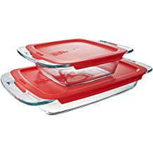 Pyrex 1091675 Easy Grab 4-Piece Bakeware Set with Red Plastic Cover