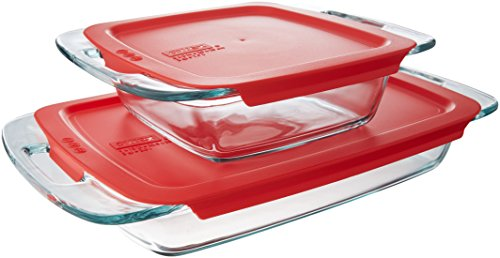 Pyrex Easy Grab Glass Bakeware Set with Red Lids (4-Piece) (Best Pre Made Lasagna)