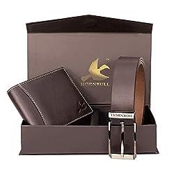 Hornbull Gift Hamper for Men – Brown Wallet and Brown Belt Men's Combo Gift Set 4595