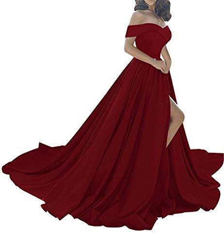 Women's Off The Shoulder A Line Prom Dress Split Satin Formal Evening Gowns Long Burgundy