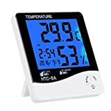 BonyTek Digital Indoor Thermometer Humidity Meter Weather Monitoring Alarm Clock Calendar with Large LCD Display Nightlight Max Min Humidity Thermometer Memory