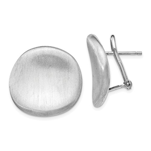 Sterling Silver Brushed Curved Button Omega Back Earrings 20.5x36 Mm