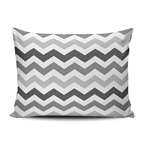 - ONGING Decorative Pillowcases White Shades of Gray Chevron Customizable Cushion Rectangle Boudoir Size 12x20 inch Throw Pillow Cover Case Hidden Zipper One Side Design Printed