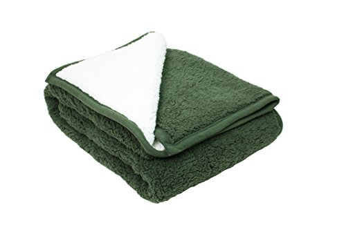 (J&M Home Fashions Plush Reversible Sherpa Fleece Throw Blanket 50x60, Fuzzy Thick Warm Breathable Fluffy for Bed, Chair, Couch, Picnic, Camping, Beach, Travel-Green)