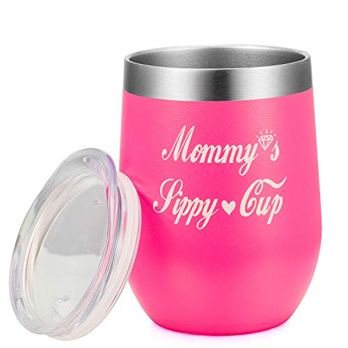 Amzyt Mommy's sippy cup |Vacuum Insulated Personalized Best Gift Idea for Birthday, Mother's day, Thanksgiving Day | 12 Oz Stainless Steel Wine Glass Tumbler for New Mom,Mother-in-law,Step-mother,Aunt