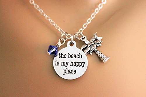 The Beach Is My Happy Place Stainless Steel Laser Engraved Necklace With Swarovski Birthstone Crystal & Palm Tree Palmetto Moon Silver - Crystals Palm Swarovski Tree