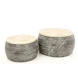 Bauhauschairs Couchtisch Wohnzimmertisch 2er Set Sari Mangoholz Vintage skandinavisch grau