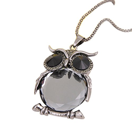 ManxiVoo Clearance Rhinestone Owl Pendant Necklace Women Vintage Glass Cabochon Necklace Long Chain Jewelry (F)