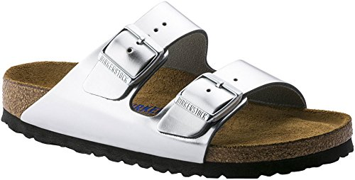 Birkenstock Arizona Soft Footbed Metallic Silver Leather Unisex Sandals 42 (US Women's 11-11.5) ()