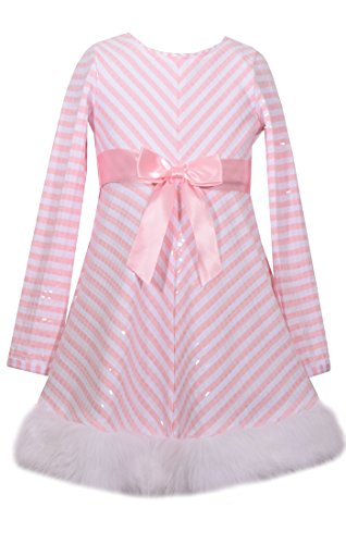 Bonnie Jean Girls' Big' Santa Dresses, Pink Stripe, -
