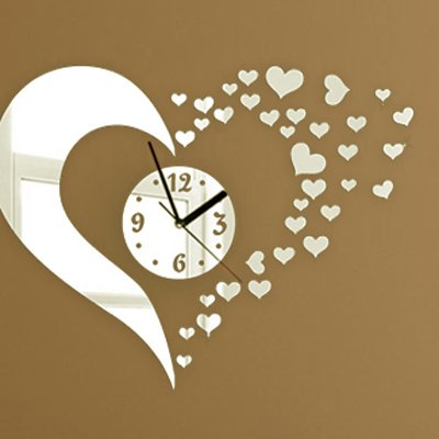 Alrens_DIY(TM)Silver Hearts Art Mordern Luxury Design DIY Removable Acrylic Silent Quartz Clock Watch 3D Crystal Mirror Surface Effective Wall Clock Wall Sticker Home Decor Art Living Room Bedroom Office Decoration by Alrens (Image #1)