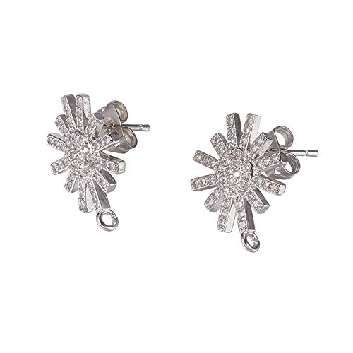 - PH PandaHall 10 PCS(5 Pairs) Brass Cubic Zirconia Ear Stud, Flower Rhinestone Setting Earring Back Posts, Platinum