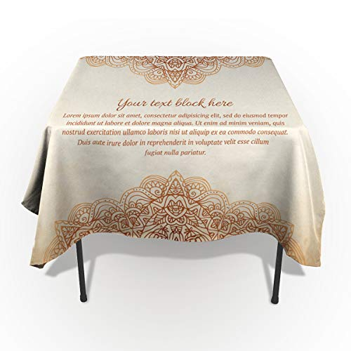 Rectangle Polyester Tablecloth, Vintage Ornate Floral Pattern Invitation Tablecloths Machine Washable Table Cover Decorative Table Cloth for Kitchen Dinning Banquet Parties 60 x 60 -